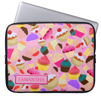 Personalize .. Fun, Bright Pink Cupcake Laptop Sleeve
