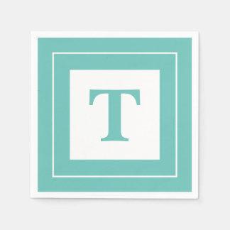 Personalize: Geometric Minimalist Teal Initial Disposable Serviette