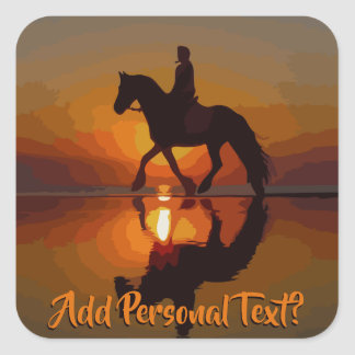 Personalize Gift for Horse Lover. Horseback Riding Square Sticker