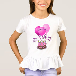 Personalize Girls 5th Birthday Party Pink Balloons T-Shirt