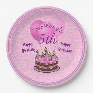 Personalize Girls 5th Birthday Party Textured Pink Paper Plate