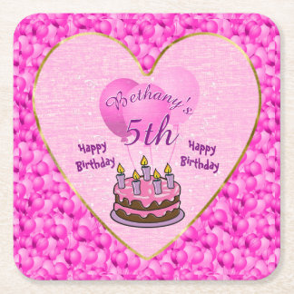 Personalize Girls 5th Birthday Party Textured Pink Square Paper Coaster