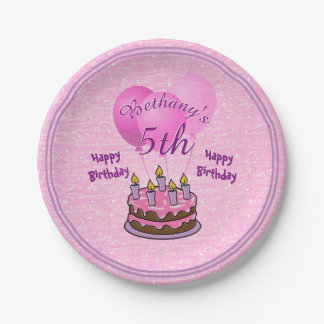 Personalize:  Girls 5th Birthday Textured Pink Paper Plate