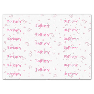 Personalize:  Girls Name All-Over Pink Confetti Tissue Paper
