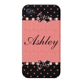 Personalize Girly Bows and Polka dots Case For The iPhone 4