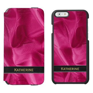 Personalize: Girly Faux Fuchsia Lame' Metallic Incipio Watson™ iPhone 6 Wallet Case
