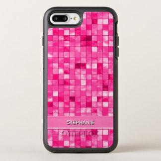 Personalize: Girly Fushsia Decorative Tile Pattern OtterBox Symmetry iPhone 7 Plus Case