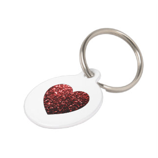 Personalize Glamour Red Glitter sparkles Heart Pet Name Tag