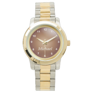 Personalize Gold and Copper with White Numbers Watch