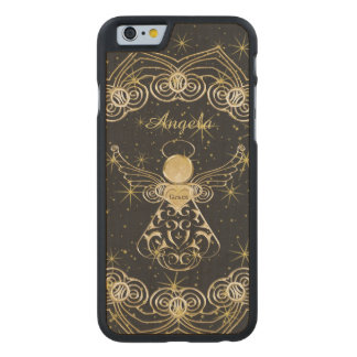 Personalize: Gold/Black Christmas Angel of Grace Carved Maple iPhone 6 Case