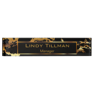 Personalize, Gold & Black Marble Name Plate