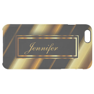 Personalize Gold Metallic & Diagonal Black Stripes Clear iPhone 6 Plus Case