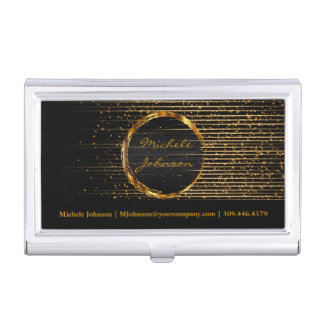 Personalize - Gold Shooting Stars and Black Business Card Holder