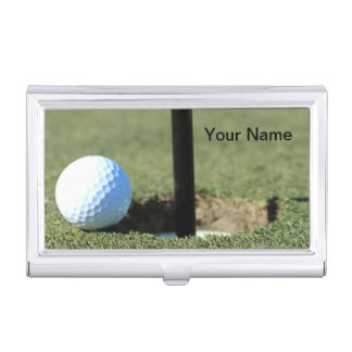 (Personalize) Golf Ball and Cup Photo Business Card Holder