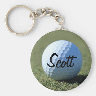 (Personalize) Golf Ball on Green close-up photo Basic Round Button Key Ring