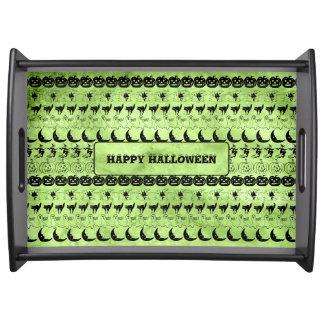Personalize: Green Halloween Fun Font Art Pattern Serving Tray