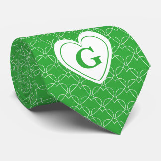 Personalize: Green Initial Minimal Hearts Pattern Tie