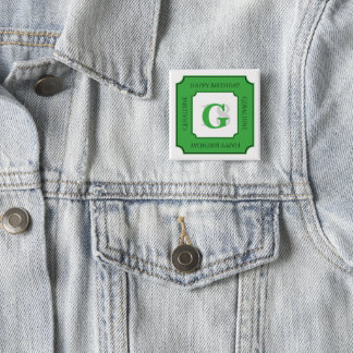 Personalize: Green/White Bold Initial and Age 15 Cm Square Badge