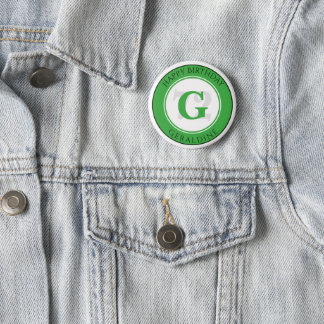 Personalize: Green/White Bold Initial and Age 6 Cm Round Badge