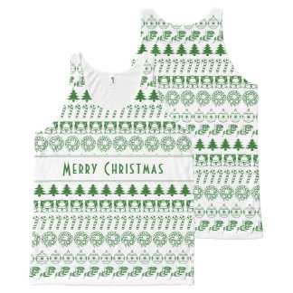Personalize:Green/White Christmas Font Art Stripes All-Over Print Singlet
