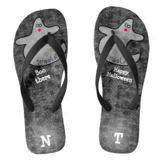 Personalize: Halloween Diva Ghost on Black Thongs