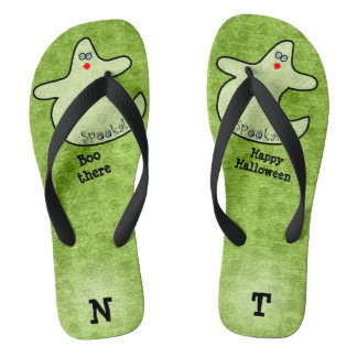 Personalize: Halloween Diva Ghost on Lime Green Thongs
