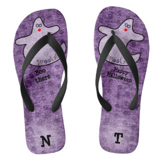 Personalize: Halloween Diva Ghost on Purple Thongs