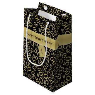 Personalize:  Happy 50th Birthday Black/Gold (S) Small Gift Bag
