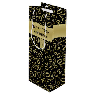 Personalize:  Happy 70th Birthday Gold/Black (W) Wine Gift Bag