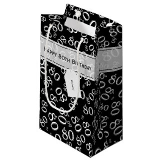 Personalize:  Happy 80th Birthday Black/White (S) Small Gift Bag