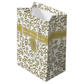 Personalize:  Happy 80th Birthday Gold/White (M) Medium Gift Bag