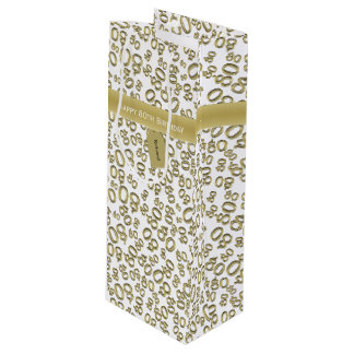 Personalize:  Happy 80th Birthday Gold/White (W) Wine Gift Bag