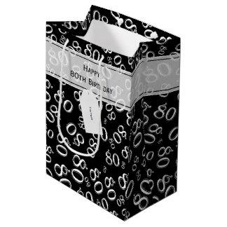 Personalize:  Happy 80th Birthday White/Black (M) Medium Gift Bag