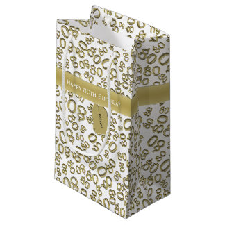 Personalize:  Happy 80th Birthday White/Gold (S) Small Gift Bag