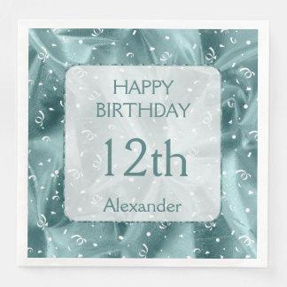 "Personalize: ""Happy Birthday"" Aqua Textured Disposable Serviette"