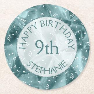 "Personalize: ""Happy Birthday"" Aqua Textured Round Paper Coaster"