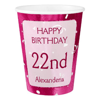 """Personalize: """"Happy Birthday"""" Fuchsia Textured Paper Cup"""