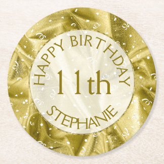 """Personalize: """"Happy Birthday"""" Gold Textured Round Paper Coaster"""