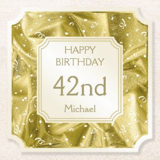 Personalize: Happy Birthday Gold Ticket Shape Paper Coaster