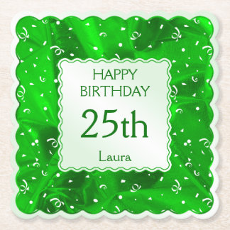 Personalize: Happy Birthday Green Scallops Paper Coaster