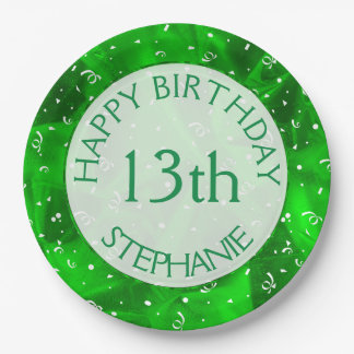 "Personalize: ""Happy Birthday"" Green Textured Paper Plate"