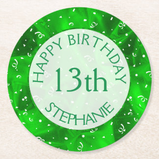 "Personalize: ""Happy Birthday"" Green Textured Round Paper Coaster"