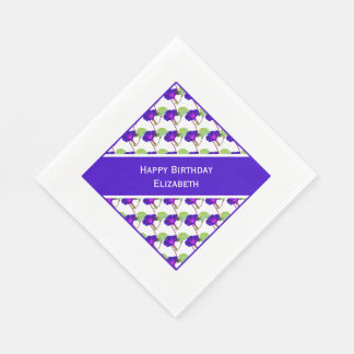 """Personalize:  """"Happy Birthday"""" Morning Glory Pic Disposable Napkins"""
