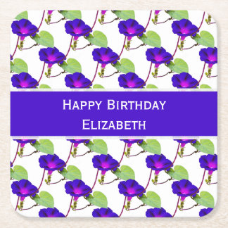 "Personalize:  ""Happy Birthday"" Morning Glory Pic Square Paper Coaster"