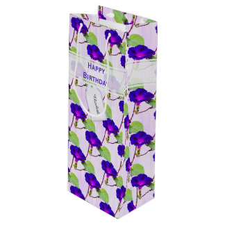 "Personalize:  ""Happy Birthday"" Morning Glory Pic Wine Gift Bag"