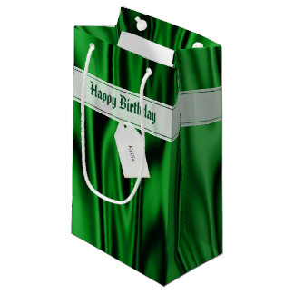 """Personalize """"Happy Birthday"""" on Faux Green Satin Small Gift Bag"""