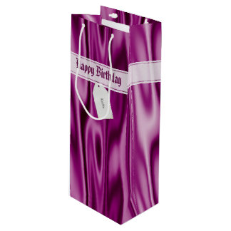 """Personalize """"Happy Birthday"""" on Faux Orchid Satin Wine Gift Bag"""