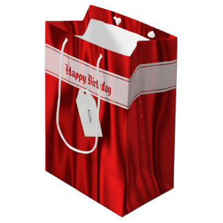 """Personalize """"Happy Birthday"""" on Faux Red Satin Medium Gift Bag"""