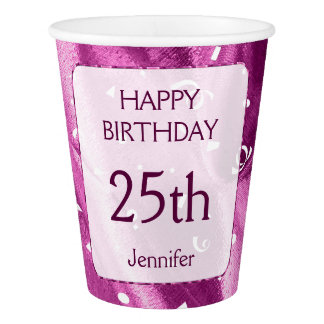 """Personalize: """"Happy Birthday"""" Orchid Textured Paper Cup"""