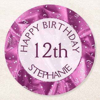 "Personalize: ""Happy Birthday"" Orchid Textured Round Paper Coaster"